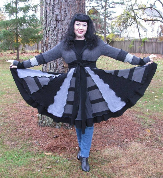 OOAK Gray and Black Patchwork Sweater Coat made from Recycled Upcycled Sweaters with Long Pointy Elf Hood - LARGE - Reuprposed Couture