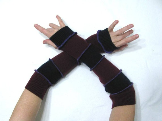 EXTRA-LONG Navy Blue & Burgundy Stripe Arm Warmers with Thumb Holes and Purple Stitching made from Recycled Sweaters - MEDIUM - Repurposed