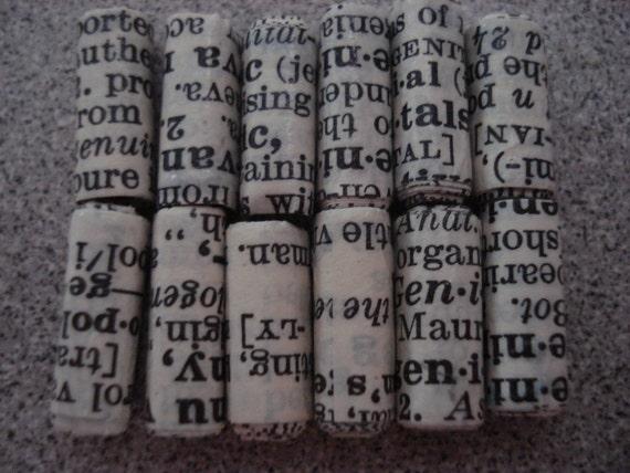Vintage Dictionary - 12 Handmade Beads