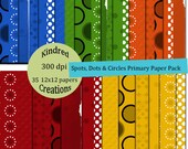 Spots, Dots and Circles Digital 35 Page Paper Pack 300 dpi 12x12