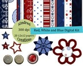 Red, White and Blue Digital Kit 300 dpi 12x12 10 papers 10 clipart embellishments