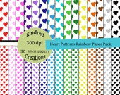 Heart Patterns Rainbow Digital Paper Pack 300 dpi 8.5x11 30 papers For Personal or Small Business Use Sale