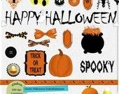 Classic Halloween Digital Embellishment Set 300 dpi printable clipart small business use