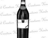 Wine Bottle 300 dpi Digital Image Download Transfer For T Shirts Totes Napkins 032