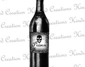 Witches Potion Poison Bottle 300 dpi Digital Image Download Transfer For T Shirts Totes Napkins 035