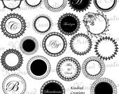 Circle Labels, Monogram Tags, Circle Frame Digital Embellishment Set 300 dpi printable clipart small business use