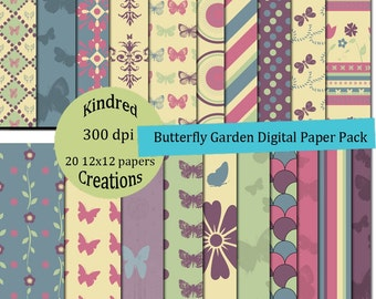 Butterfly Garden 12x12 Digital Paper Pack 300 dpi Printable Personal and Commercial use