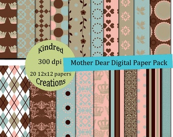 Mother Dear 12x12 Digital Paper Pack 300 dpi Printable commercial use