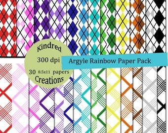 Argyle Rainbow Digital Paper Pack 300 dpi 8.5x11 30 papers For Personal or Small Business Use