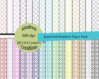 Quatrefoil Rainbow Digital Paper Pack 300 dpi 12x12 30 papers For Personal or Commercial  Use