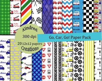 Go Car Go Digital Paper Pack 300 dpi 12x12 20 papers For Personal or Small Business Use