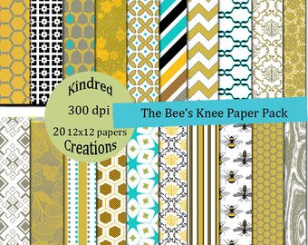 The Bees Knee Digital Paper Pack 300 dpi 12x12 20 papers For Personal or Small Business Use