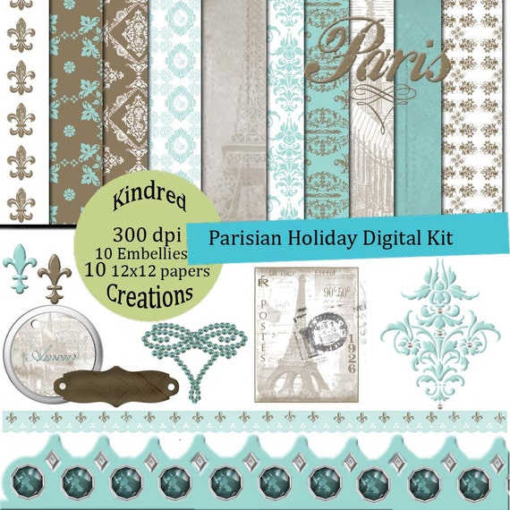 Parisian Holiday Digital Kit 300 dpi 12x12 10 papers 10 clipart embellishments
