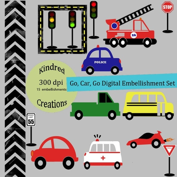 Go, Car, Go Embellishment Set Clipart Personal and Small Business use