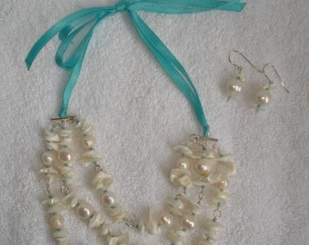 Ivory Pearls and Shells Ribbon Tie Necklace (Romazurah)