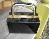 Black Patent Leather Box Purse with Gold trim and Handle Mad Men
