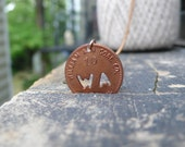 copper letter WA initial coin necklace - circulated coal scrip pendant