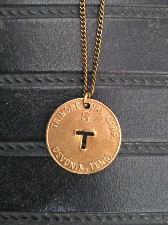 vintage copper initial letter T coin necklace - upcycled from circulated coal mining scrip in tennessee