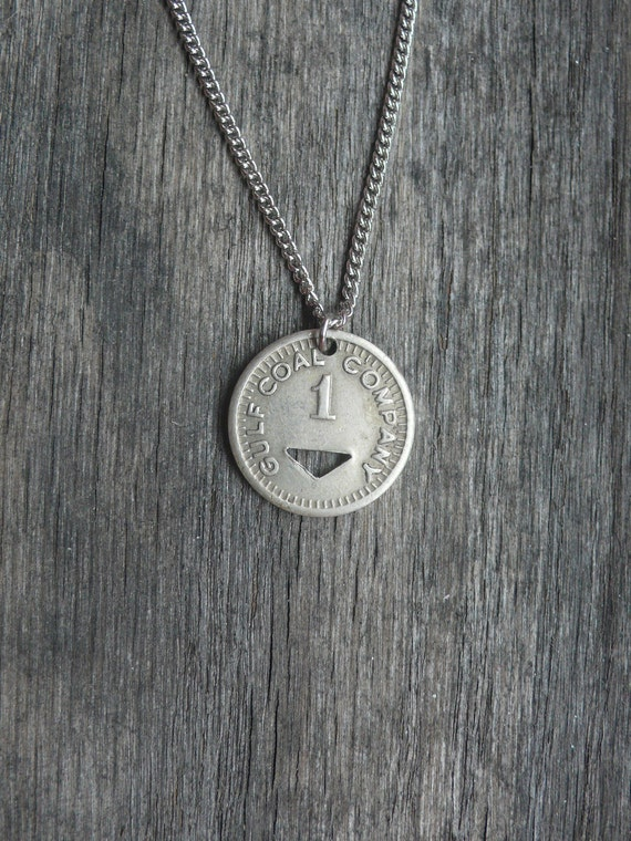 triangle coin necklace necklace - upcycled from vintage circulated coal mining scrip from 1940's