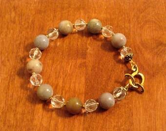 Jasper and Crystal Bracelet (B1063)