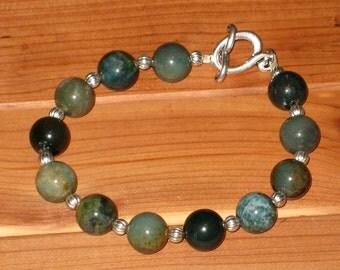 Mossy Green Jasper Bracelet (B1078)