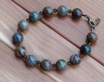 Snakeskin Jasper and Crystal Bracelet (B1098)