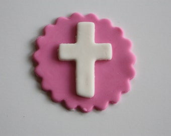 12 Fondant cupcake toppers--crosses