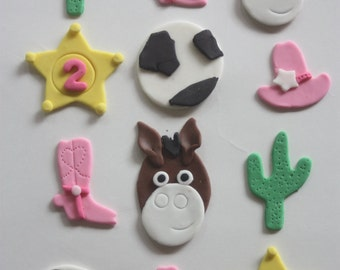 12 fondant cupcake toppers--cowgirl, wild west