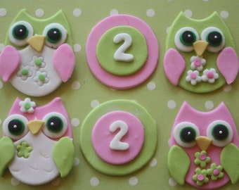 12 fondant cupcake toppers--owls and numbers