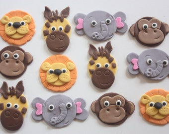 12 fondant cupcake toppers--safari, jungle, zoo, noah's ark