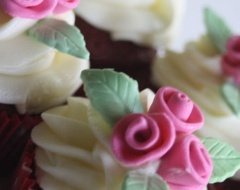 12 edible fondant rose bouquet (rosettes) cupcake toppers