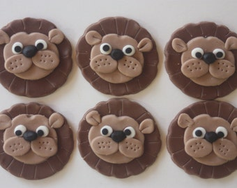 12 Fondant cupcake toppers--lions