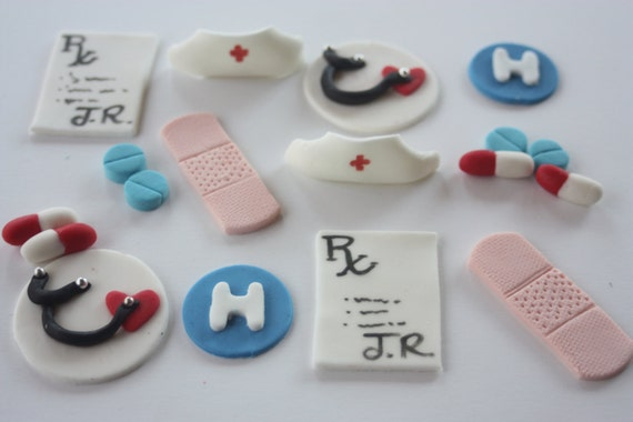 12 Fondant cupcake toppers--nurse, medical graduation