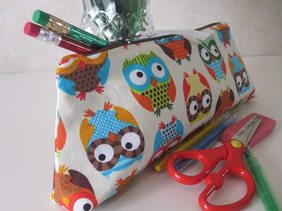 Zippered Pencil Pouch- Owls