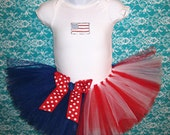 4th of July Onesie with Tutu and Matching Bow Headband...Red, White, and Blue Photo Prop, Party Dress...Newborn-3T