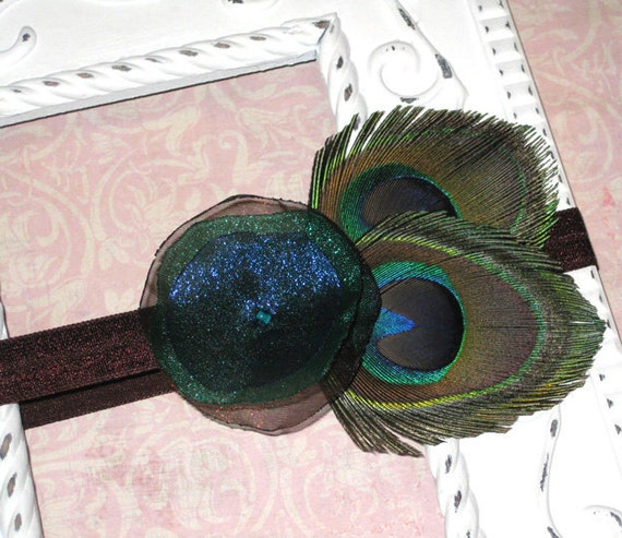Peacock Feather Headband...Baby Girl, Toddler, Teen, Adult...Great Photo Prop
