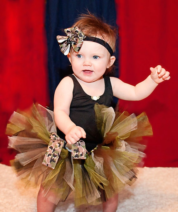 Army Brat Tutu | Camo Tutu with Shabby Rosette Headband | Infant, Baby Girl, Toddler