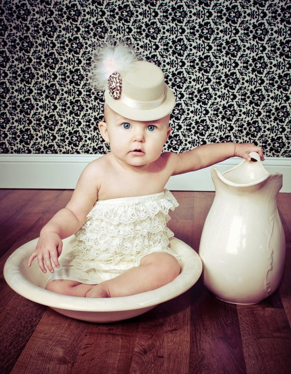 Ivory Rosette and Feather Mini Top Hat...Newborn, Baby, Toddler, Adult...Photo Prop, Costume