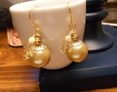 SALE CLEARANCE Reduced earrings Pearlish Endive Handmade