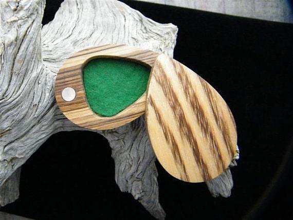 guitar pick box holder in zebra wood by cowboysgallery on etsy. Black Bedroom Furniture Sets. Home Design Ideas