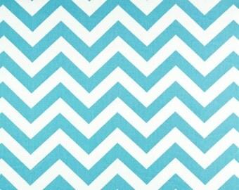 "1 Yard ""Zig Zag"" Twill Fabric in Girly Blue, Chevron, Home Dec Fabric"