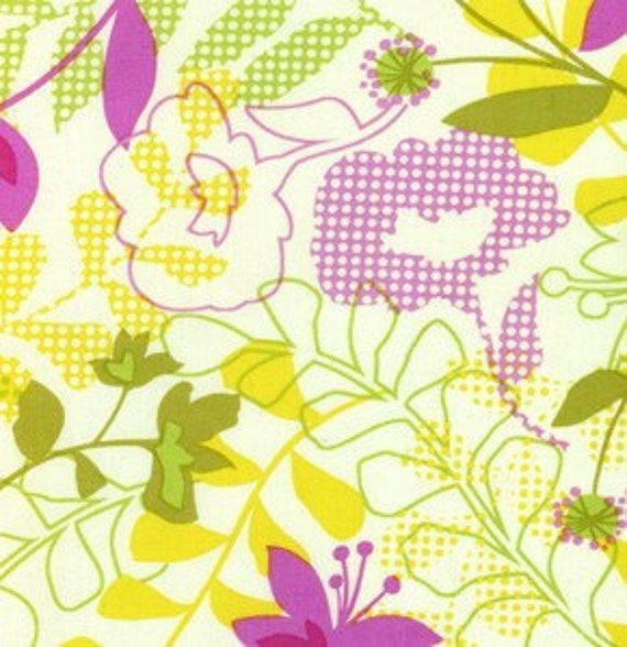 """SALE 1 Yard """"Checked Floral"""" in Fuchsia by Erin McMorris, Wildwood Collection, Quilting Cotton"""