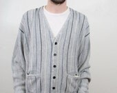 His Grey Stripped Cardigan