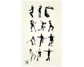 Dancing peoples - clear stamp set 028 // Flonz clear stamps