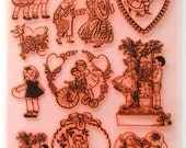 Vintage Children Kids Couple Love Clear stamps lot. UM FLONZ 403-87