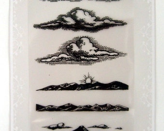 Mountains and clouds // FLONZ clear stamps