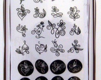 Curls Flowers and Birds -- Flonz clear stamps set 027