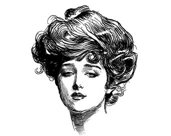 Gibson Girl 1. Vintage engraving portrait by C.D.Gibson // FLONZ unmounted stamps