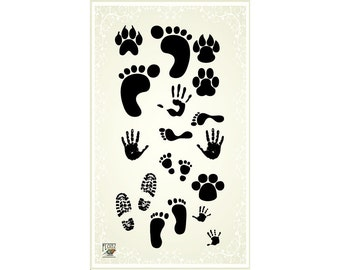 Footprints and animal traces - clear stamp set 011 // Flonz clear stamps