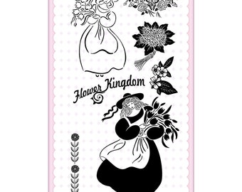 Girls with Bouquet. Vintage series // Flonz clear stamps set 226